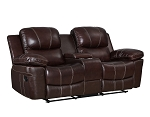 Haysi Top Grain Leather Loveseat Recliner