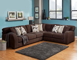 Lyla 3 Pc Oversized Sectional in Chocolate